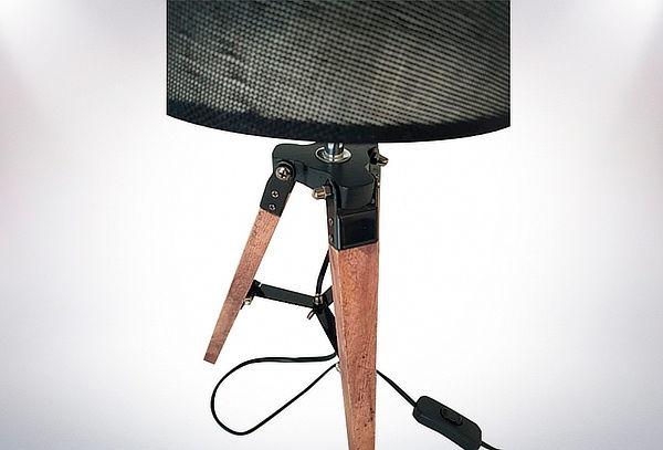 Lámpara Trípode para Velador, Pantalla Negra