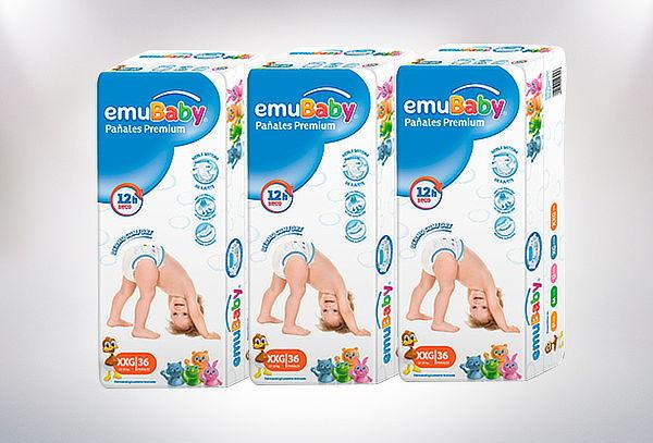 1 Paquete de Pañales Premium Emubaby talla a elección