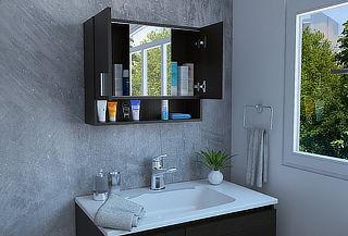 Gabinete de Baño Spa + Espejo Wengue