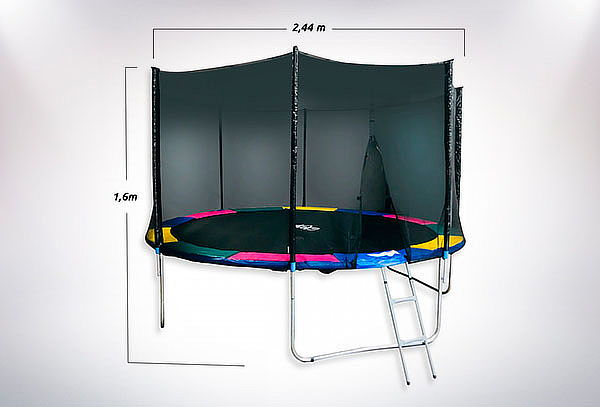 Cama Elástica 8ft GlowUp Pro Malla + Escalera 2.44m x 2.16m