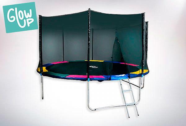 Cama Elástica 14ft GlowUp Pro Malla + Escalera 4.27m + 2.69m