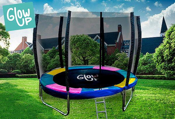 Cama Elástica 12ft GlowUp Pro Malla + Escalera 3.66m + 2.65m