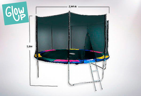 Cama Elástica 8ft GlowUp Malla + Escalera 2.44m