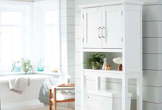 Gabinete de madera para el baño