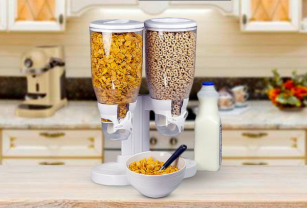 Dispensador Doble de Cereal Blanco
