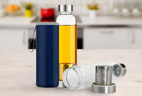 Pack 2 Mug de Vidrio con Infusor, Color a Elección