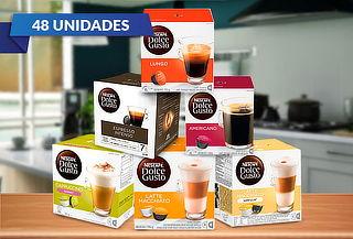 Pack 48 cápsulas Dolce Gusto variedad de sabores.