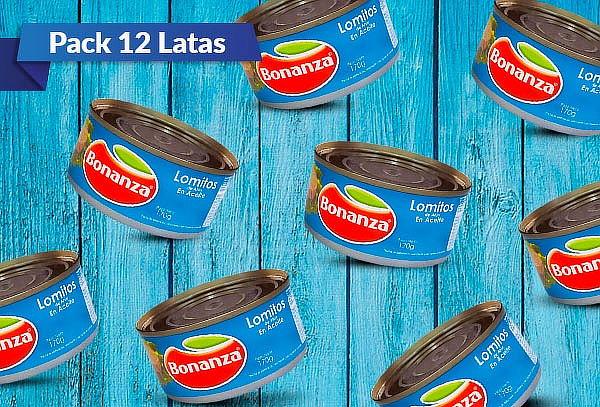 Pack 12 Latas de Atún en Lomito en Aceite Bonanza