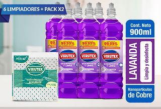 Pack de 6 Limpiadores Desinfectantes + 2 Paños Ecologicos