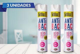 Pack de 3 Aerosol Desinfectantes Antibac de Tanax 500cc