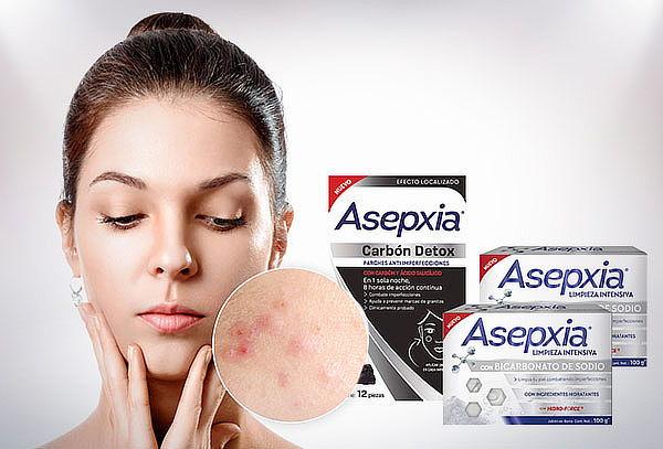 Pack Asepxia jabón bicarbonato x 2 + parches puntos negros