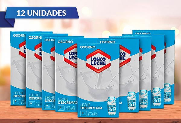 Pack 12 LoncoLeche Blanca Descremada 1 L