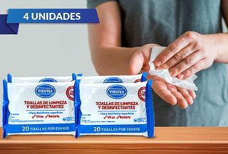 Pack de 4: 20 Toallitas Limpieza Desinfectantes Virutex