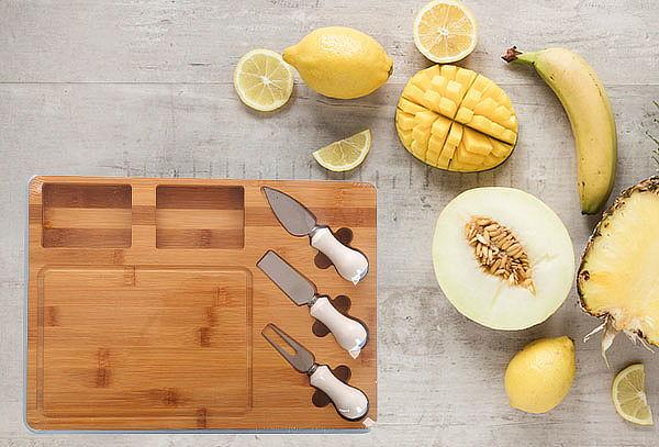 Tabla Cocktail Con 3 Accesorios Mango De Cerámica Blanco
