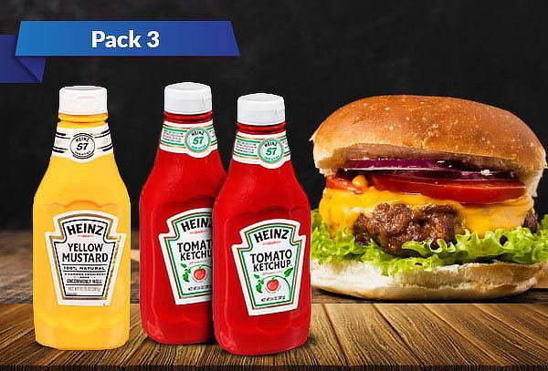 Pack 2 Ketchup de 397 Gr. y 1 mostaza de 361 Gr. Heinz