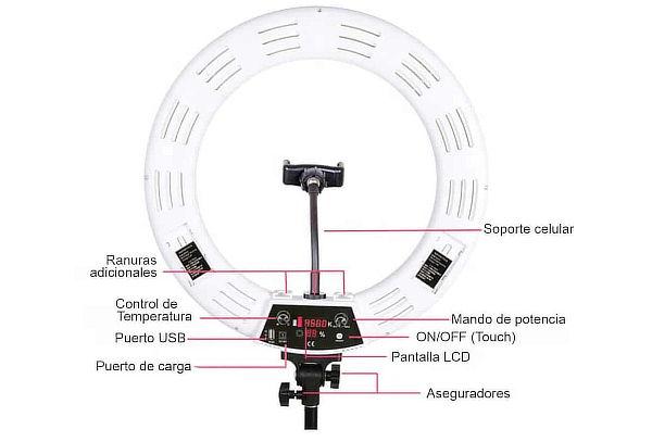 Aro Profesional 46cm + Trípode con Pantalla LCD + Envío