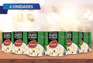 Pack 6 Wasil Lata de Palmitos en Rodajas 400 g