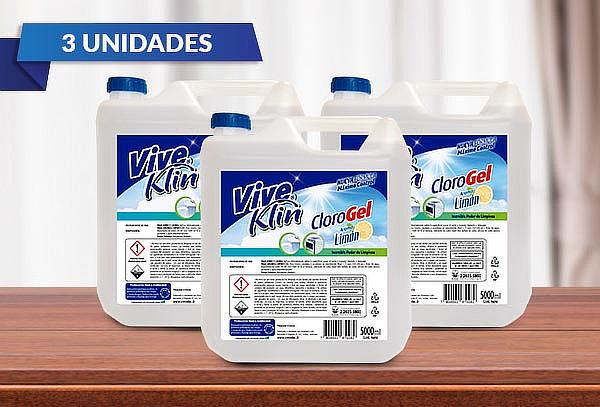 3 Bidones de clorogel Limón de 5 Lts. Viveklin