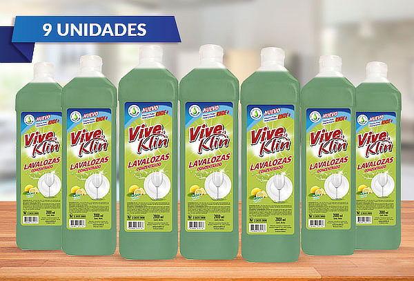 Pack de 9 Botellas de Lavaloza Viveklin Limón 2 Lts