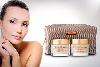 pack cicatricure gold dia + gold noche + cosmetiquero