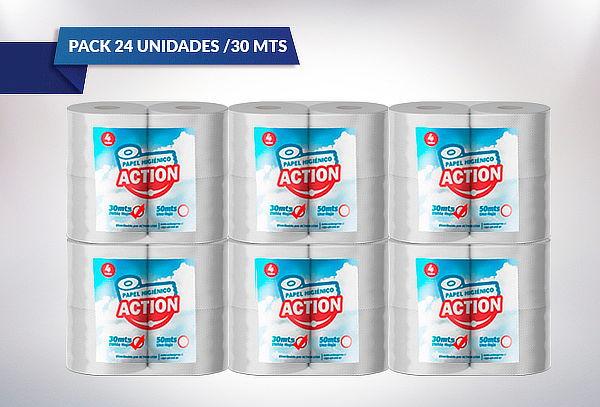 24 o 48 Rollos de Papel Higiénico Action 20 o 30 Metros