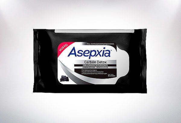 Pack Asepxia 2 Toallitas Humedas Carbon + Jabon Carbon 100G