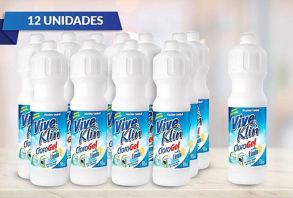12 Botellas De Clorogel Aroma Limón 900 Ml. Viveklin