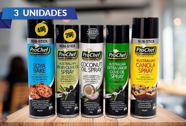 Pack 3 Aceites en Spray ProChef, Sabor a Elección