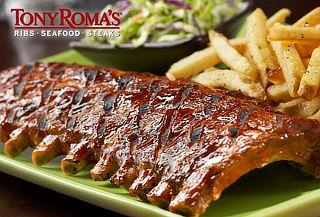 Tony Romas! 2 Half Ribs + Papas fritas + Bebida.