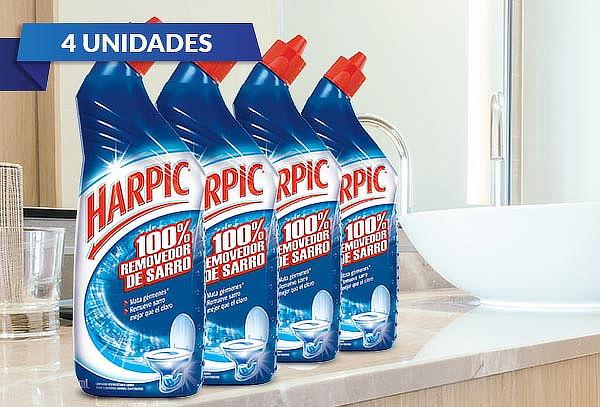 Pack de 4 Harpic gel 100% removedor de sarro 750 ml.