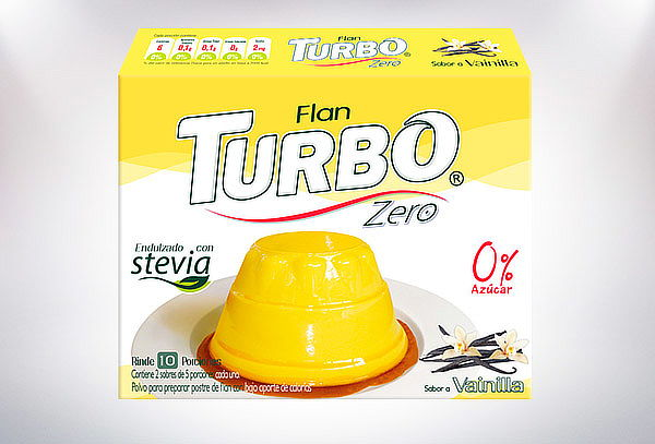 Pack 12 Flanes Turbo Zero, 4 sabores.