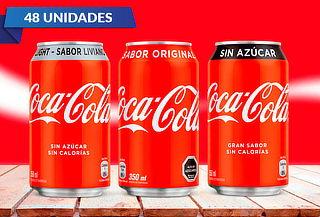 Pack de 48 o 24 Latas de Coca-Cola 350 cc a elección