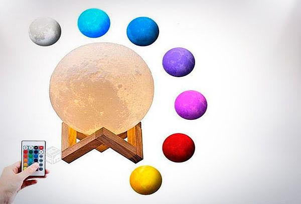 Lampara Luna Llena Control Remoto Colores