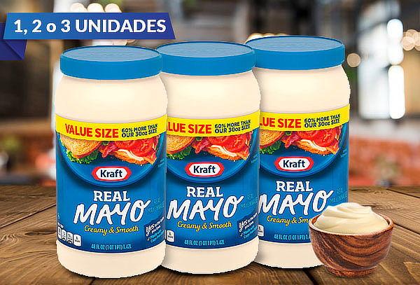 Mayonesa Kraft frasco 1.42 Lt., Individual, Pack 2 y pack 3