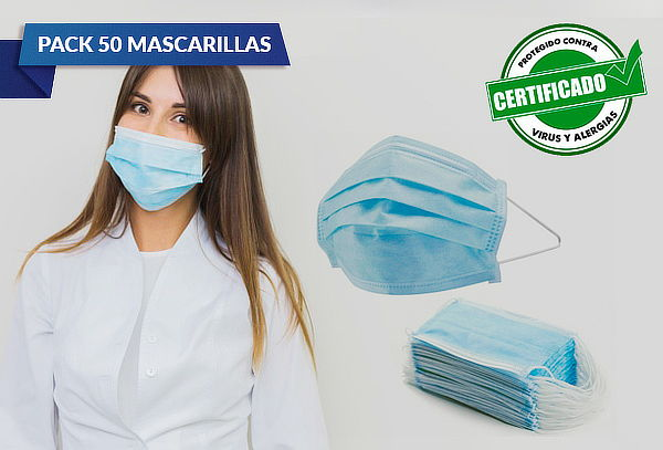 50 Mascarillas Desechables 3 Pliegues Elástico Certificado