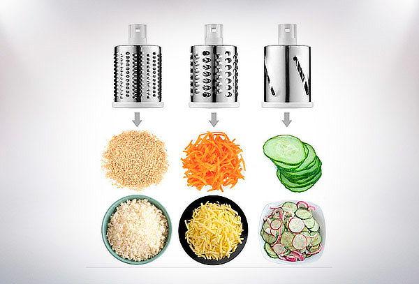 Máquina para cortar, rallar y picar verduras