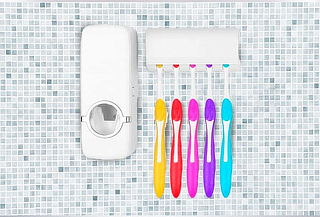 Dispensador Para Pasta Dental + Porta Cepillos