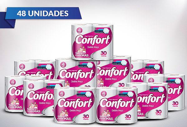 Pack 48 Rollos de papel higiénico Confort doble hoja 30 Mts.