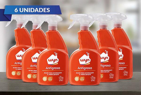 Pack 6 de botellas antigrasa marca WYN