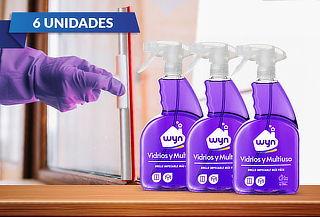 Pack de 6 botellas de Limpiavidrios Wyn 750ml