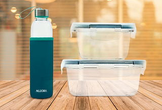 Set de Herméticos de Vidrio para Microondas + Botella