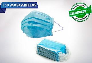 150 Mascarillas Desechables 3 Pliegues Elástico Certificado