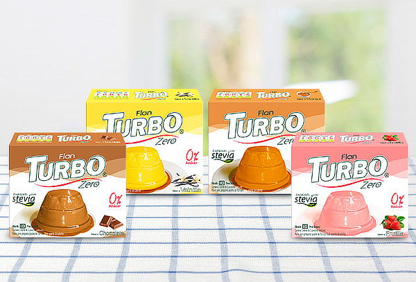 Pack 12 Flanes Turbo Zero, 4 sabores.