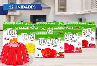 Pack 12 Gelatinas Turbo Zero, 6 sabores.