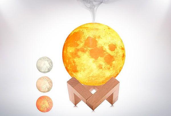 Humidificador Difusor Aroma Lampara Luna 3 colores + Esencia