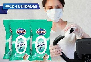 Pack de 4: 50 Toallas Desinfectantes Multiuso Easy Virutex