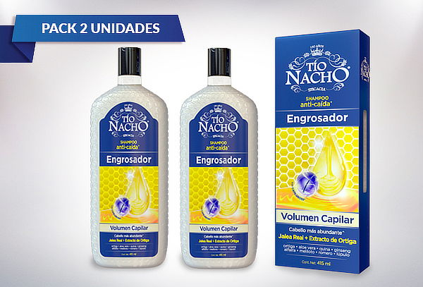 Pack 2 Shampoo Tío Nacho Sistema Engrosador 415 Ml.