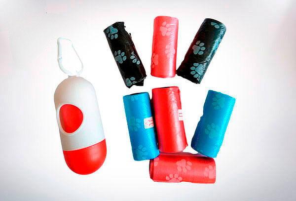 Pack Porta Rollo + 120 Bolsitas Higienicas para Mascotas