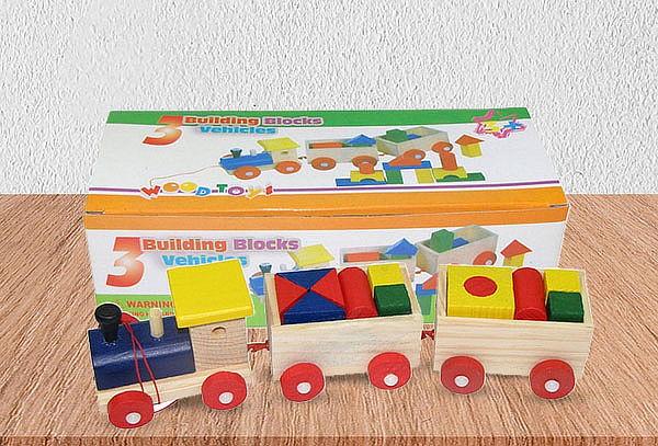 Tren 3 Carros Infantil de Madera