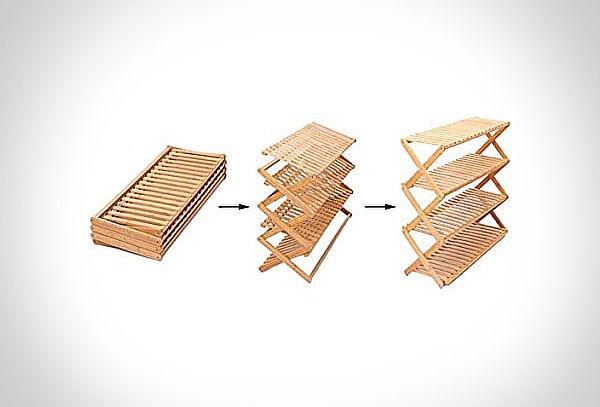Organizador zapatero plegable de bambú